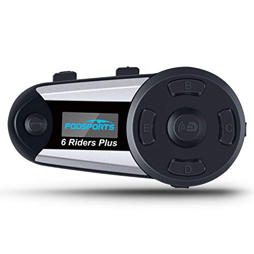 Fodsports V6 Plus Auriculares Intercomunicador Moto, 1200m Intercomunicador Casco Moto con pantalla OLED Impermeabilidad hasta 6 Jinetes para Radio FM, Gama Comunicación Intercom(1 Pieza)