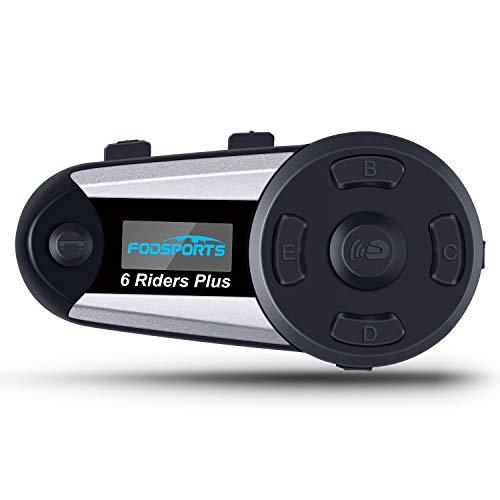 Fodsports Intercom Moto Bluetooth, V6 Plus Casques Kit Moto Main Libre Ecouteur Bluetooth avec écran LCD, Connecter Jusqu'à 6 Riders pour Moto,Vélo (1 pièce )