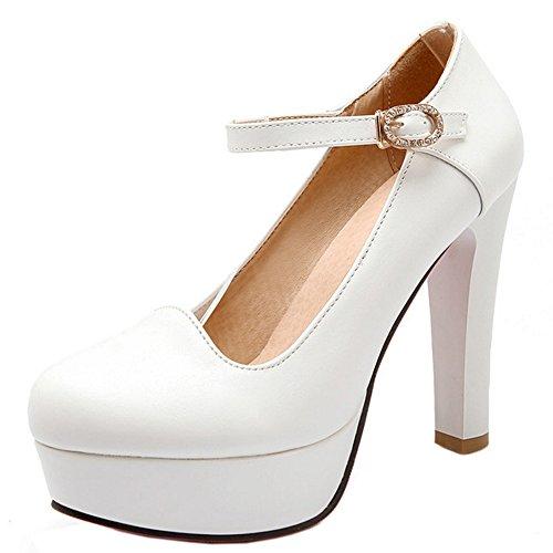 TAOFFEN Femmes Elegant Talons Hauts Escarpins Bloc Sangle De Cheville Soiree Chaussures De Boucle 736 Blanc