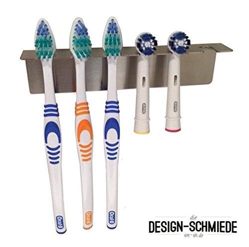 Zahnbürstenhalter aus Edelstahl auch für Aufsteckbürsten, Auswählbar ob für 2, 3, 4, 5, 6, 8 oder 15 Bürsten -