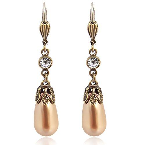 Perlen-Ohrringe mit Kristallen von Swarovski® Gold Bronze NOBEL SCHMUCK