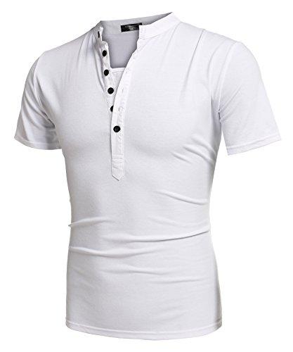 Aulei Herren Poloshirt slim fit Stehkragen fashion casual T-Shirt Unifarbe kurzarm Hemd Weiß