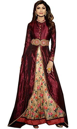 Sanjana Bollywood style Banglori Silk Party Wear Anarkali Suit in Maroon And Beige