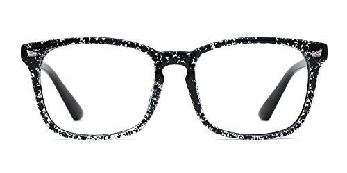 TIJN Klassische Nerdbrille Rechteck Nerd Clear Brillen Brillengestelle Damen Herren (Schneeflocke)