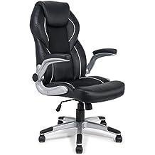 MY SIT Chaise de bureau Siège de bureau Fauteuil Design Noir Montreal avec accoudoir rembourrés