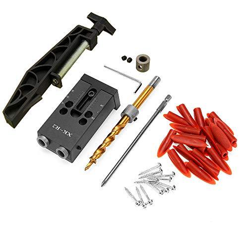 XK-R2 Holzbearbeitungs-Taschenlochbohrer-Set 9,5 mm Winkelbohrführung mit Taschenlochgelenk Festklemme COD