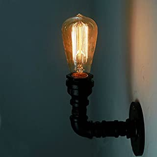 HJZY American Wall Sconce Retro Black Steampunk Metal Water Pipe Wall Mounted Security Lights E27 Edison Iron Wall Light Lamp for Restaurant Bar Basement Garage Apartment