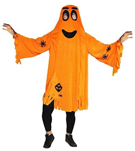 Kostüm - lustiger Geist / Gespenst mit Spinnen - 5 bis 12 Jahre _ Gr. 116 - 152 - Karneval / Gespenstkostüm / oranger Umhang incl. Maske - für Kinder (Schloss Kostüme Halloween)
