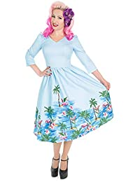 25b6f80317cf Hearts and Roses London Blue Pink Flamingo 1950s Retro Vintage Flare Swing  Dress
