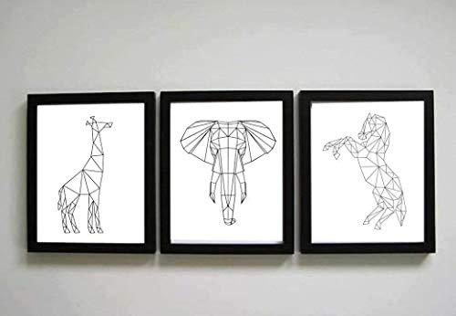 TRIPTICO personalizado de animales geométricos .Decoración salón o habitación moderno. Elige tamaño, color del marco y modelo.