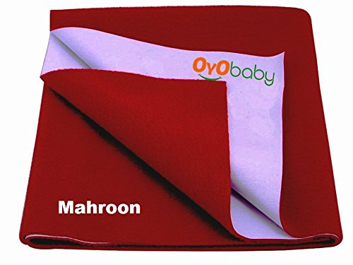 OYO BABY - Quickly Dry Super Soft, Dry Waterproof Bed Mattress Protector Soft Reusable Sheet For Baby Toddler bassinet Cot Cradle Urine Absorption (Size: 70cm X 50cm) / (28 inch X 19 inch) Maroon,S  available at amazon for Rs.153