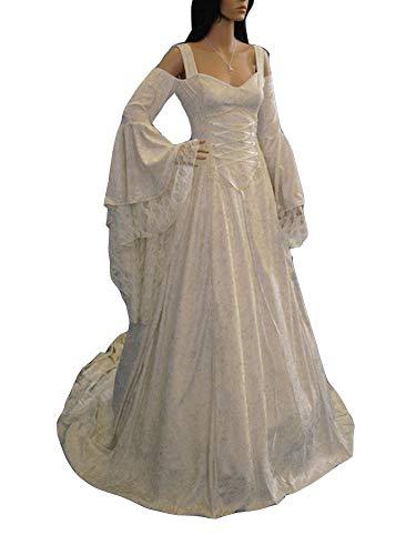 Guiran Damen Mittelalterkleid Vintage Langes Maxi Kleid Cosplay Party Kleider Weiß 4XL