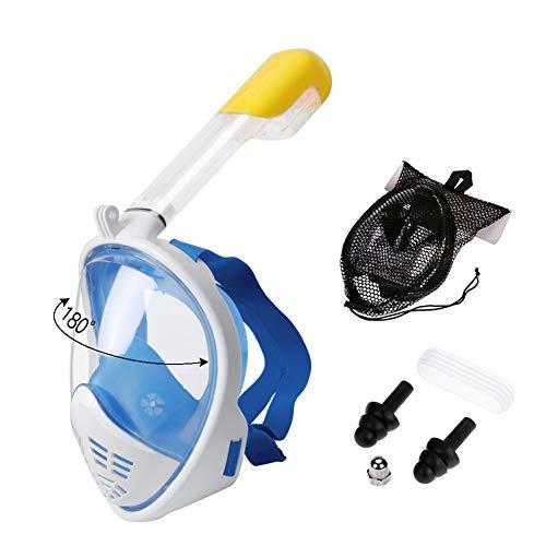 CQ Mascarilla Facial para Esnórquel Vista Panorámica De 180°Plegable Respira Fácilmente para Adultos Niños,Blue,L/XL