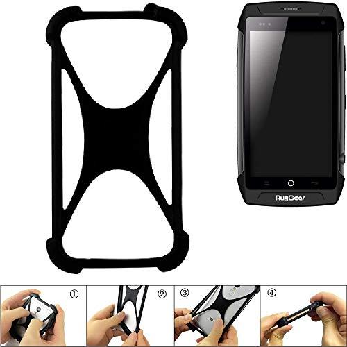 K-S-Trade Bumper Ruggear RG730 Silikon Schutz Hülle Handyhülle Silikoncase Softcase Cover Case Stoßschutz, schwarz (1x)