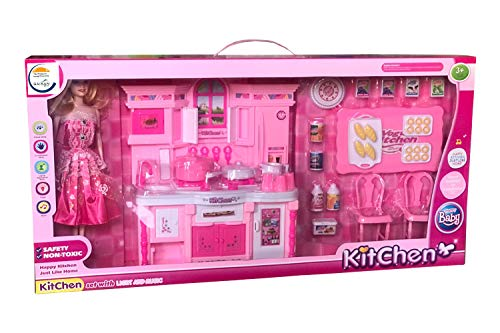 SAISAN Happy Kitchen Play Set Just Like Home Big Size with Doll Light Music and Accessories - Assorted Color