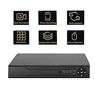 4-CH 1080N CCTV Recorder,NVR AHD TVI 4CH DVR Video Recorder Security Camera System with Remote Access Alarm Information Push - Black