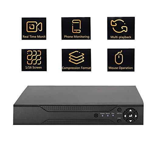 CCTV 4CH DVR Receiver Netzwerk Digital Video Recorder, NVR AHD TVI 4CH DVR 4 in 1 Überwachungskamera-System mit Fernzugriffs-Alarminformationen Push - Schwarz (1#) -