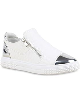 Damen Sneakers Zipper | Metallic Cap Schuhe | Sneaker Low Kroko Print | Sportschuhe Trainers Flach | Turnschuhe...