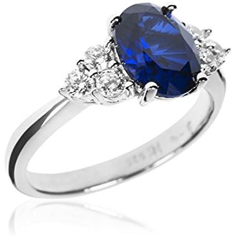 anello con zaffiro ct 0,67 diamanti ct 0,10 oro bianco 18 kt punzone 750 misura 9