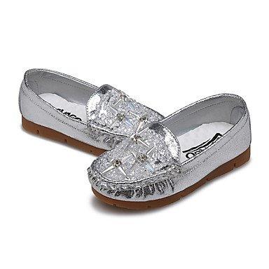 LIDOG Extérieure Décontracté-Rose Argent Or-Talon Plat-Confort Light Up Chaussures-Ballerines-Similicuir Silver