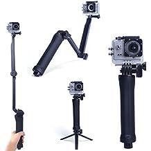 Kainuoa Palo Selfie Plegable Trípode Multi-Función para Cámara Deportiva Apropiado para casi Todas Sport Camera como GoPro Hero 4 3+ 3 2 1 SJCAM SJ4000/5000/6000 Series Y Otro Sports DV