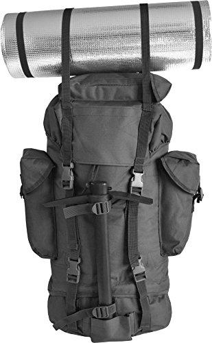 Rucksack, ideal zum Wandern, großes Fassungsvermögen 65 Liter, viele Taschen, Flecktarn Schwarz