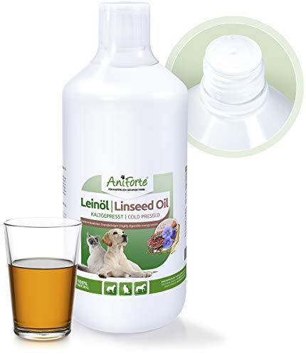 AniForte Leinöl für Hunde, Katzen, Pferde 1 Liter - Kaltgepresst, Nativ, Reich an Omega 3 und Omega 6 Fettsäuren, Lein Öl Barf Ergänzung, Hochwertiges Leinsamenöl als direkter Energie-Lieferant
