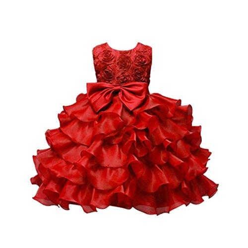❤️Kobay Kinder Baby Mädchen Blumen Geburtstag Hochzeit Brautjungfer-Festzug Prinzessin Abendkleid (90/2-3Jahr, Rot)