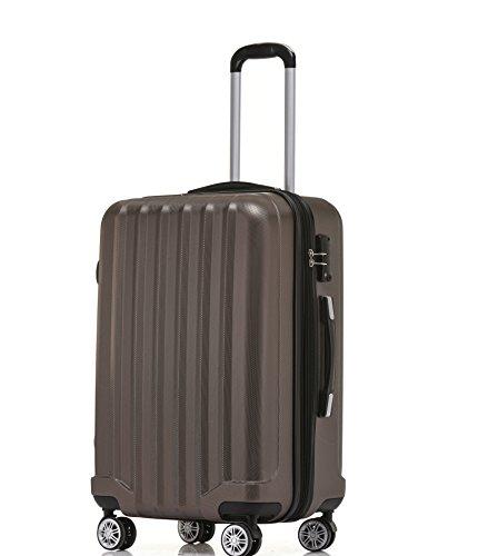 BEIBYE BEIBYE TSA-Schloß 2080 Hangepäck Zwillingsrollen Reisekoffer Koffer Trolley Hartschale Set-XL-L-M(Boardcase) in 12 Farben (Coffee, M-Handgepäck(53cm))