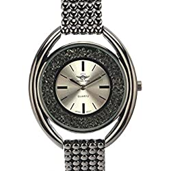 Michael John Damen-Armbanduhr Stahl schwarz glänzend Jasper