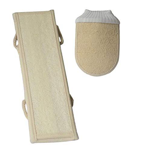 2 Stück-peeling (HEALLILY GESUND Natural Loofah Körperreinigungsset Peeling Handschuh Schwamm Badetuch Sets 2 Stücke (Beige))