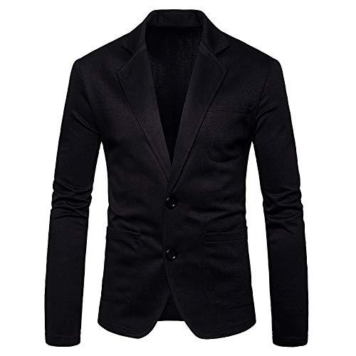 Herren Freizeit Blazer Sakko Business Hochzeit Slim Fit Anzugjacke Schwarz XL