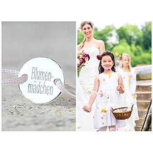 Blumenmädchen, Brautjungfer und Trauzeugin Geschenk, Namensarmband, Freundschaftsband mit Gravur, Personalisiertes Armband, 925 Silber