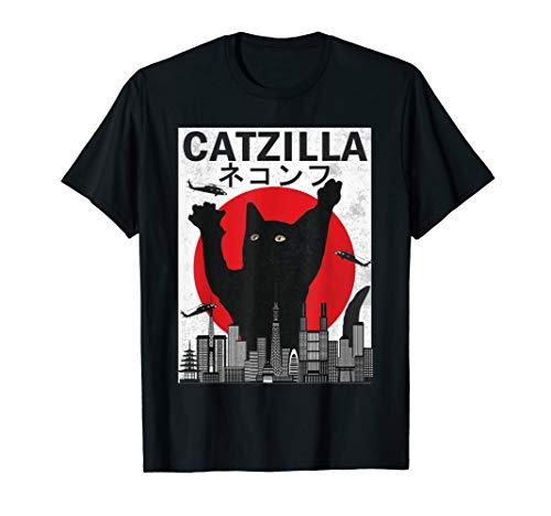 Katze T Shirt Kostüm - Catzilla japanischer Sonnenuntergang-Art-Katzen-Kätzchen-Lie