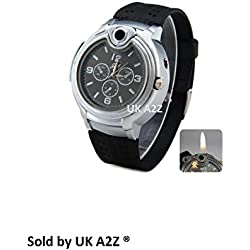 Mens Stylish Novelty Watch with Built in Refilliable Cigarette / Cigar Lighter. Gadget Watch Lighter has Black Dial Face.