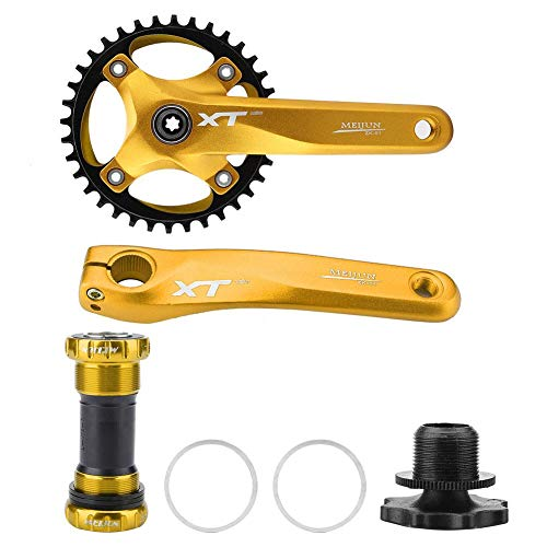 Fahrrad Kurbelgarnitur Mountainbike Kurbel Aluminiumlegierung Integral Single Speed   Kurbelarm einstellen Tretlager für Shimano, Prowheel, Sunrace, Truvativ, Sram(Gold) -
