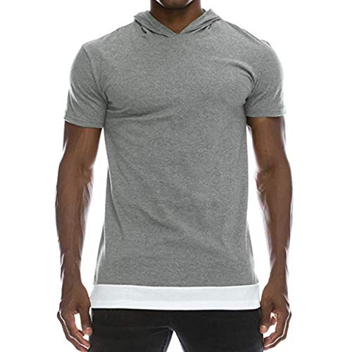 Fenverk Oversize Herren Vintage T-Shirt Crew Neck Rundhals Basic Shirt - Muscle Fit Slim Fitness Longshirt Top(Grau,XL)