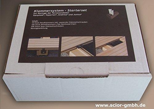 Klammerbefestigung für Terrassendielen (185 St. Mittelklammern + 10 St. Randklammern) Starterset Scior