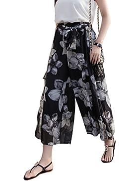Yuanu Mujer Verano Cintura Alta Pierna Ancha Pantalones De Tobillo Suelto Cómodo Thin Transpirable Pantalones...