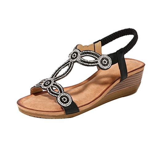 Mitlfuny Damen Sommer Sandalen Bohemian Flach Sandaletten Sommer Strand Schuhe,Frauenrhinestone-Weinlese-Keil-Sandelholze beschuht böhmische beiläufige Sandelholze Rom-Schuhe