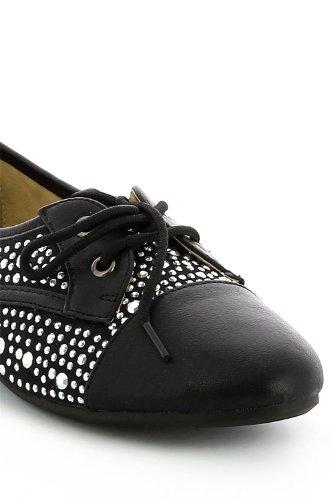 Chaussures à lacets ornée strass Noir