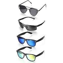 Aroncent 4er Sonnenbrille Unisex Pilotenbrille Herren Schutzbrille UV-Schutz Fliegerbrille Sportbrille Polarisiert Retro Sonnenbrille für Radfahren, Cycling, Angeln, Running Outdoor Sport