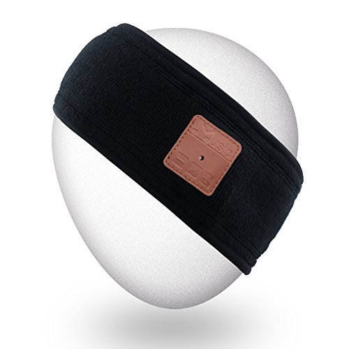 Mydeal Outdoor Wireless Bluetooth Stirnband mit Kopfhörer Stereo Lautsprecher Mic Hands Free für Sport Fitness Workout Jogging Laufen, kompatibel mit iPhone Android Handys - Schwarz Handy Dual-hands Free Stereo