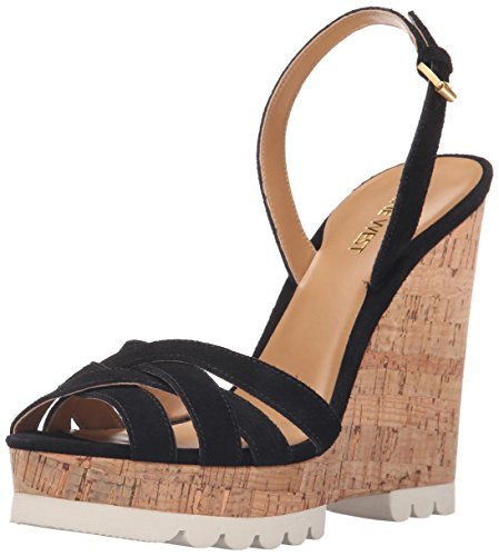 Nine West Kindeyes Suede Wedge Sandale Black Suede
