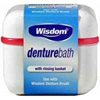 Recipiente limpiador para prótesis dentales con enjuague de Wisdom.