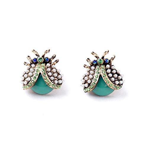 Styliee Schmuck, Mode Ohrringe, schönes Ohr Piercing, Ohrstecker,Women Personality Hiphop Style Ear Jewelry Asian Lady Beetle Earrings Factory Wholesale Green Antique Gold Plated