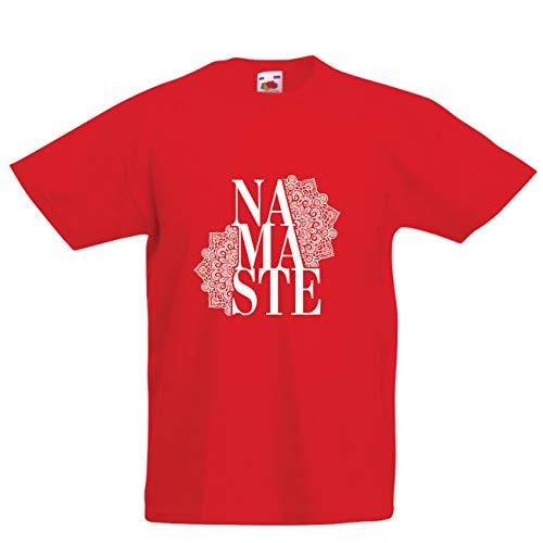 lepni.me Kinder Jungen/Mädchen T-Shirt Mandala Geometrie, Mantra Namaste, Kunst-Yoga, Gute Stimmung (9-11 Years Rot Mehrfarben) -
