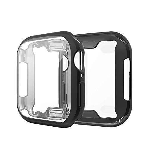 Vamoro TPU Plated Displayschutzfolie Vollschutz Display Schutzhülle Full Coverage Scratch-Proof Schutzhülle Weiche Ultra-Slim-Beschichtung TPU-Schutzhülle für Apple Watch Series 4 40MM(Schwarz)