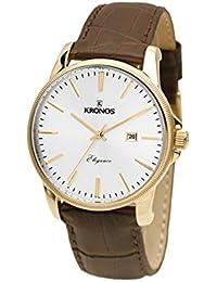 Kronos - Elegance Golden 964.33 - Reloj de caballero de cuarzo, correa de piel marrón
