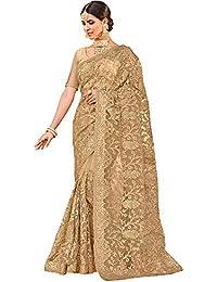 Diva N Diya Beige Women's Heavy Embroidered Net Saree with Blouse Piece (RubeezChiku)